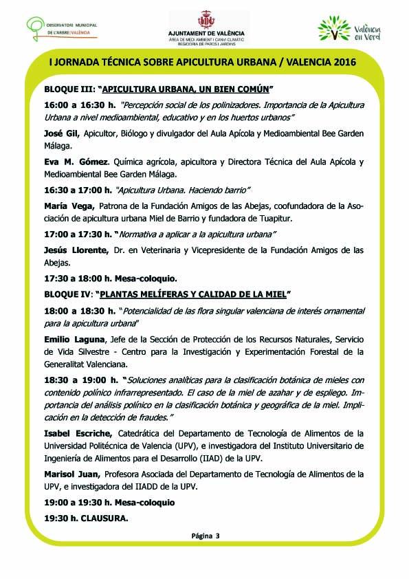 I Jornada Técnica Apicultura Urbana Valencia 2016